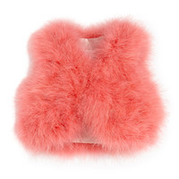 Fluffy Feather Vest, Pink, Sizes 10-12 - Charabia
