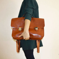 COOL DADDY is retro leather backpack,big,orange,brown,unisex bag,bags and purse,leather,gift,women,men,case,sale