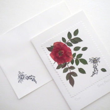 Birthday Card, Happy Birthday Rose Card, Pressed Flower On White 5 X 7 Inch Handmade Card With Mystical Bee