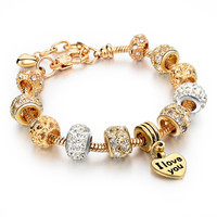 Beautiful Pandora Style Bracelet For Women With i love you charm