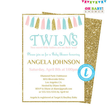 TWINS Baby Shower Invites, Pink and Blue Baby Shower Invitation Template, Baby Shower Invites boys and girls, Printable, Tassels TASPBG