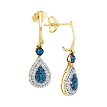 10kt Yellow Gold Women's Round Blue Color Enhanced Diamond Teardrop Dangle Earrings 1-2 Cttw - FREE Shipping (USA/CAN)