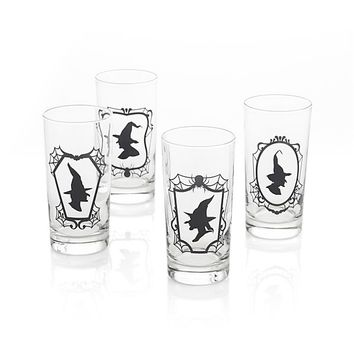 Set of 4 Witch Glass Tumblers