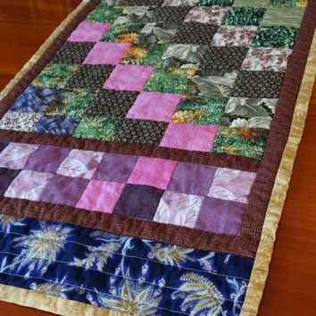 Quilted Patchwork Table Topper, Handmade Quilted Table Runner, Quilted Centerpiece, Housewarming Gift,  Home Decor, Country Colors