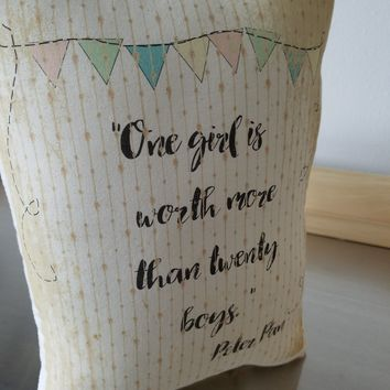 Peter Pan pillow gift for girl JM Barrie quote cushion