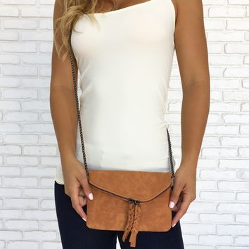 Suede Braid Clutch Handbag in Camel