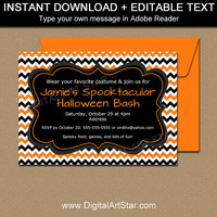 DIY Halloween Invitation Template, PRINTABLE Halloween Invitation, Halloween Party Printables, Editable Halloween Sign, Halloween Decor