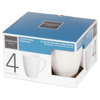 Gibson Select Entertaining Essentials 4-Pack 12 oz. Soft Square Mugs - White