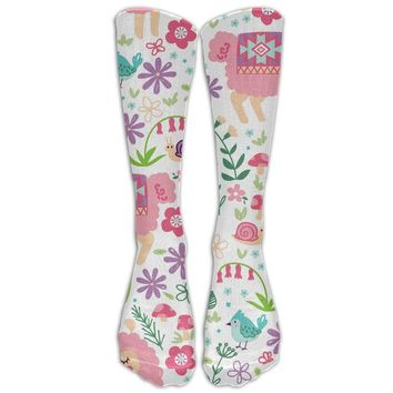 Llama Girl Novelty Cotton Knee High All-Over Printed Socks