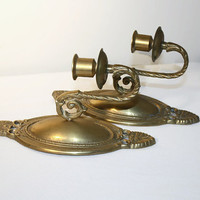 Pair of Brass Candleholder Wall Sconces, Home Decor, Wall Mounted Lighting