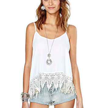 White Strappy with Crochet Lace Patchwork Top