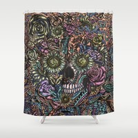 Sensory Overload Skull in Pastels Shower Curtain by Kristy Patterson Design