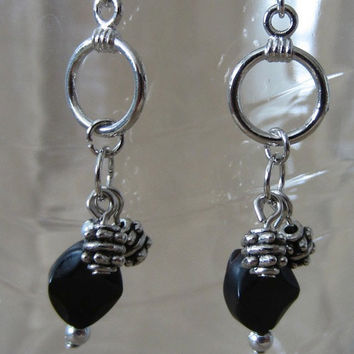 Unique Black Onyx & Silver Bead Small Silver Hoop Dangle Earring, Handmade, Original Design, Classic Style, Simple Elegance, Fashion Jewelry