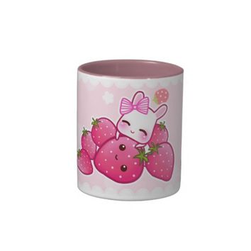 Cute bunny and kawaii strawberries coffee mugs