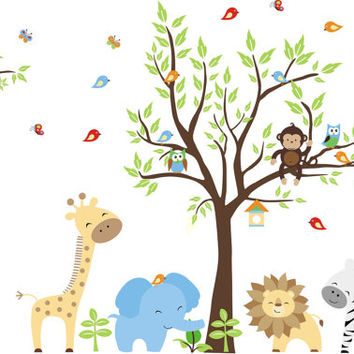 Nursery Wall Decal Animal Blue Elephant Zoo