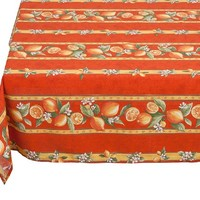 """60"""" x 100"""" Rectangular Citron Lemons Cotton Tablecloth on Orange * You Can Select Plain or Stain-Proof Coated Cotton in Menu Below"""