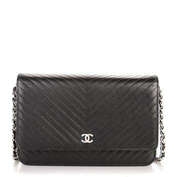 CHANEL Caviar Chevron Wallet On Chain WOC Black