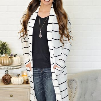 *  Jenae Striped Duster With Pockets : Ivory/Black