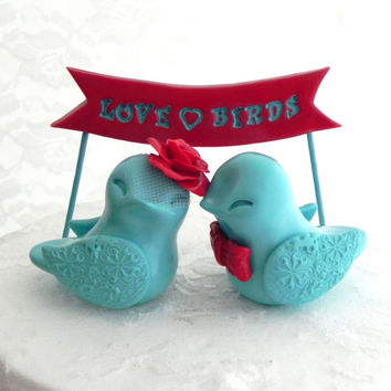 Wedding Cake Topper Love Birds, Poppy Red and Aqua, LOVE BIRD Banner - Bride and Groom Keepsake