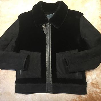 Jakewood Mouton Jet Black Shearling Jacket