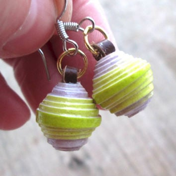 Recycled Paper Earrings - Eco-friendly jewelry - Upcycled, recycled, repurposed - Cute Earrings - Spring jewelry - Paper Bead Earrings