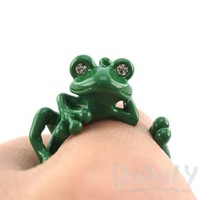 Yoga Frog Shaped Animal Wrap Around Ring in Green | US Size 5 to 8