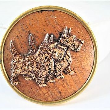 Scottie Dog Brooch, Pair of Dogs, Celluloid Dogs, Wood Veneer Background, C Clasp Brass Pin,  Scottish Terriers, Art Deco Brooch