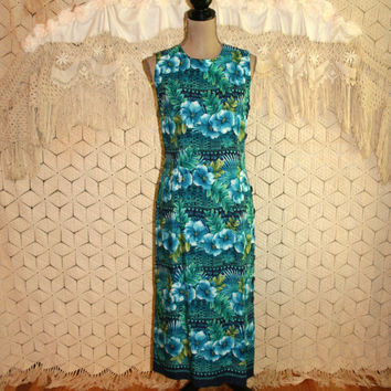 Blue Tropical Print Summer Shift Maxi Beach Dress Hawaiian Luau Dress Sleeveless Vintage Summer Dress Size 8 Size 10 Medium Womens Clothing