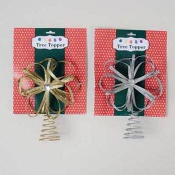 Metal Bow Christmas Tree Topper - Assorted