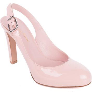 Gianvito Rossi Pink Patent Leather Sling Back Almond Toe Pumps