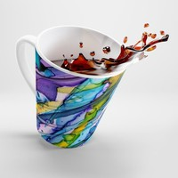 Latte Mug, Gifts for Holidays, Dishware, Coffee Cups, Colorful Cups, Household Gifts