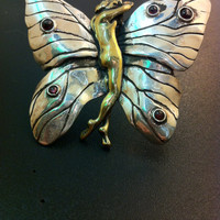 Stunning silver and bronze butterfly brooch- Bohemian silver brroch- Statement jewelry- Artisan jewelry-Greek art