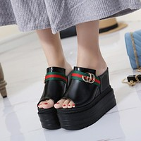 Gucci Women Fashion Casual Sandal Platform Heels Shoes