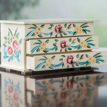 "Country Style Elegant Floral Wood Jewelry Box. Handpainted. 9"" Wide w/3 Drawers"