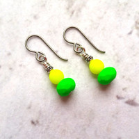 Neon Earrings Green and Yellow, Summer Jewelry, Niobium Earrings for Sensitive Ears, Bright Dangle Earrings, Summer Earrings, Island Jewelry