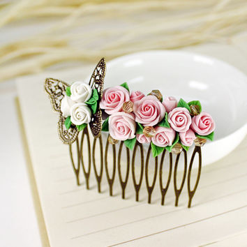 rose Hair Comb,butterfly, bridesmaid, hair clip, hair accessories, vintage style , polymer clay flower,gift for her