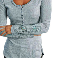 Women Lace T-shirt Long Sleeve Casual Tops Pullovers Loose T Shirt