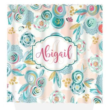 Sprayed Blooms SHOWER CURTAIN, Turquoise Pink, Flower Bathroom Decor, Personalized Girl, Shared Sister Bathroom, Bath Towel, Bath Mat