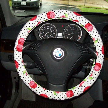 Red Roses on White with Polka Dots Steering Wheel Cover