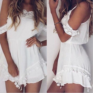 White Cold Shoulder Romper with Lace