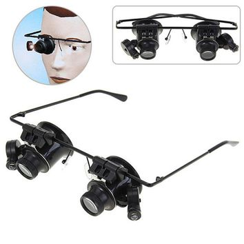 Multifunction Binocular Magnifier Glasses Type 20X Watch Repair Magnifier LED Light Illuminated Magnifier Magnifying Glasses