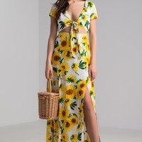 AKIRA Short Sleeve Tie Front Open Back Long Slit Sunflower Printed Floral Maxi Dress in Sunflower