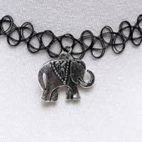 Black Tattoo Choker with Elephant