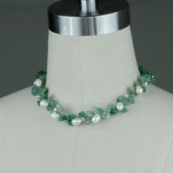 Pearl green jade chunky crochet wiring necklace Bridesmaids gifts Free US Shipping handmade Anni Designs