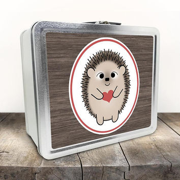 Cute Hedgehog Lunch Box - Rustic Red Heart Brown Wood - Hedgehog Illustration - Tin School Lunch Art Craft Supplies Box - Chalkboard inside