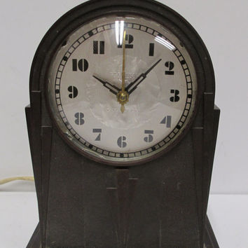 Art Deco  B.E. Lawrence Alarm Clock  Antique Electric Bakelite Foil Dial Works, but  Needs TLC