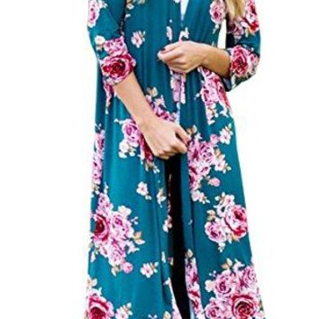 Hibluco Womens Casual 34 Sleeve Floral Printed Open Long Cardigan Jacket Outwear