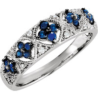 Sterling Silver Sapphire & .05 CTW Diamond Ring