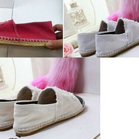 WOMEN DENIM CANVAS SHOES ESPADRILLES FLAT CASUAL SHOES