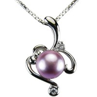 Vine Spiral Lavender Pearl Cubic Zirconia Rhodium Plated Sterling Silver Pendant Necklace
